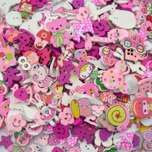 50pcs Assorted Wooden Carton Flatback//Buttons Lots Craft Embellish Pink Theme