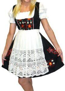 German Black Dirndl Dress Waitress Oktoberfest Women Short Party EMBROIDERY 3pcs