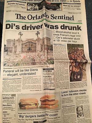 Princess Diana Death Newspaper Coverage Orlando Sentinel September