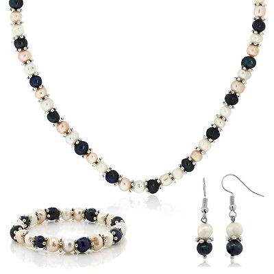 Multi-Color Cultured Freshwater Pearl Necklace Earrings Bracelet Set 7-8MM 18""