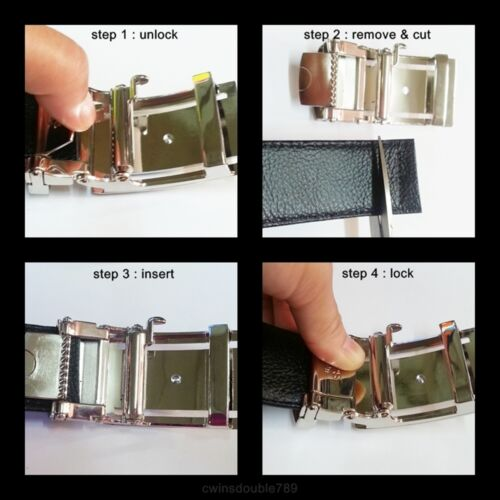"Men Belt Genuine Snake Python Real Skin Leather Chrome Buckle Automatic 1.5 /"""