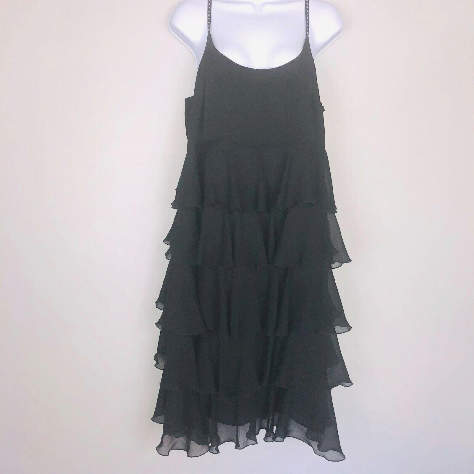 Lane Bryant damen Dress sz 14 schwarz Spaghetti Strap Sheer Tierot Ruffles  AZ26