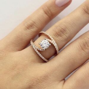 Jewelry 925 Silver Women White Topaz Ring Engagement Wedding Gift Size 5-10