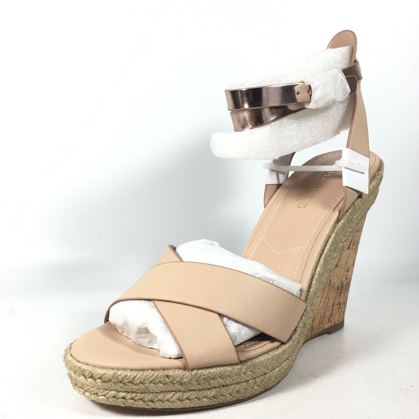 Charles David  Brit  Womens 9 M Nude Nude Nude Metallic Sandal Wedge 5c883c