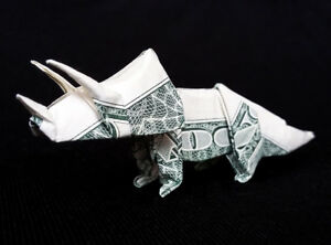 Money Origami Triceratops Dinosaur Folded With Real One Dollar ... | 222x300