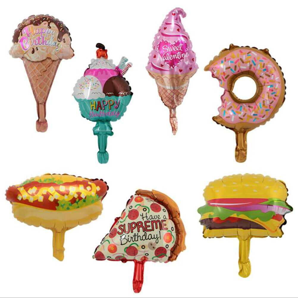 5Pcs Hamburger hot dog donut pizza ice cream foil balloon DIY inflatable balloon
