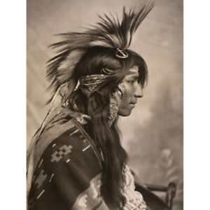 Cree-Native-American-Headdress-Old-Photo-Canvas-Art-Print-Poster