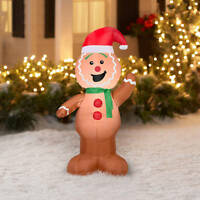Gemmy Airblown Inflatable 4.5' X 4' Gingerbread Man Boy Christmas Decoration