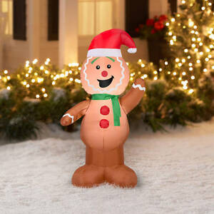 image is loading gemmy airblown inflatable gingerbread man christmas decoration yard - Inflatable Gingerbread Man Christmas Decor