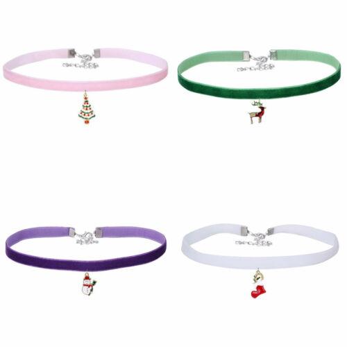Ladies Girls Christmas Xmas Santa Choker Velvet Necklace Gift Stocking Filler