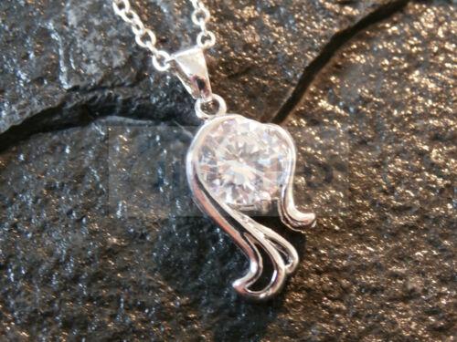 Seahorse encanto colgante de plata esterlina y Blanco GEM con collar de cadena WN039