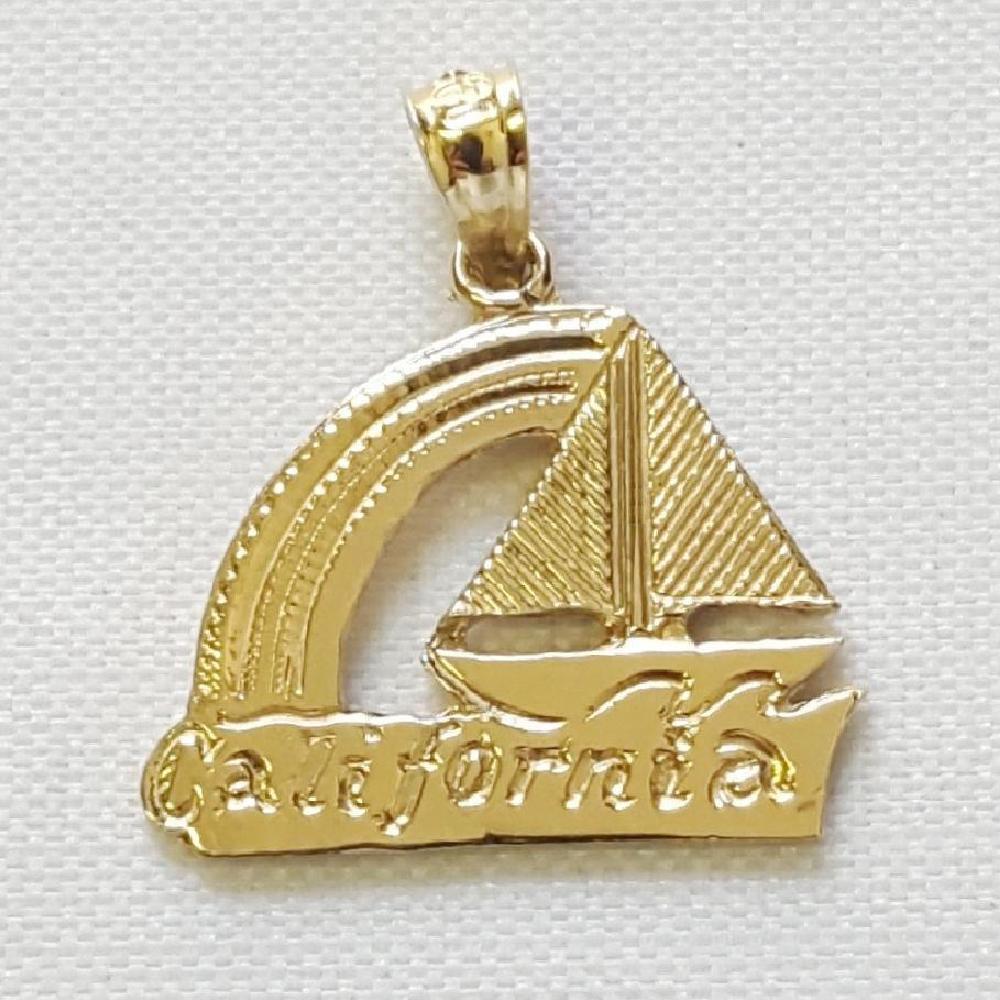 14k oro Giallo California Barca Ciondolo     Ciondolo Fatti Negli USA 7f8eb2