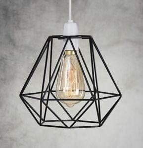 Industrial-Colgante-De-Techo-Retro-Estilo-jaula-de-alambre-luz-lampara-metal-facil-ajuste