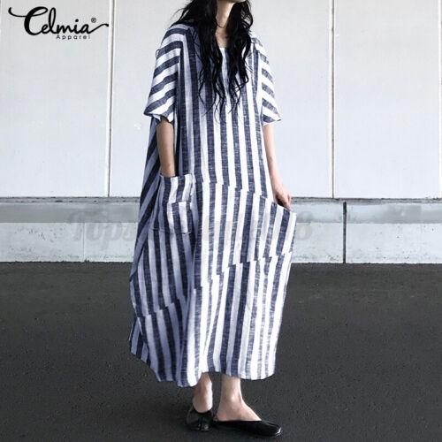 S-5XL Women Crew Neck Batwing Sleeve Casual Loose Stripe Long Shirt Dress Kaftan