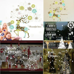 image is loading christmas deer decals decor art home removable mural - Christmas Decals For Glass