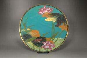 PCP54-Japanese-cloisonne-enamel-large-plate-Meiji-period-Crab-Lotus
