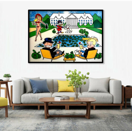 """Alec Monopoly /""""Monops/&Richie Drinks at the Pool/"""" Oil Painting on Fabric Poster"""