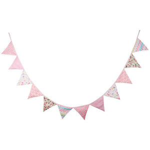 12-Flags-Birthday-Banner-Cotton-Bunting-Triangular-Flags-Girl-Baby-Room-Decor