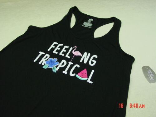 NWOT Women/'s Secret Treasure Sleep Lounge Shirt Black Feeling Tropical Flamingo