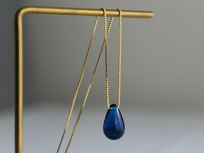 Blue tear drop pendant with gold plated over sterling silver chain necklace