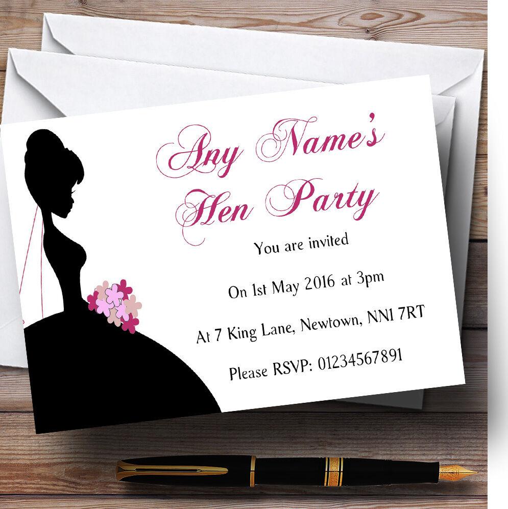 Novia Sombra Personalizado Hen party Invitaciones