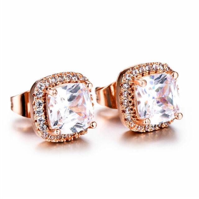 18K Rose Gold Princess Champagne Topaz Stud Earrings Square Christmas Party Gift