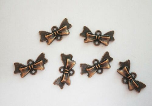 Metal Antique Copper Colour 20mm 10  Bow//Bow Knot Jewellery Connectors,Charms