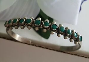 Old Vintage Zuni Sterling Silver Snake Eye Turquoise Row Cuff