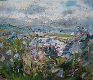 ORIGINAL-SIGNED-Harebells-River-Ure-Wensleydale-Yorkshire-Dales-Oil-on-Canvas