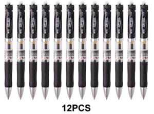 Gel Pens Fine Point 0.5mm Quick Dry Black Gel 12pc RetractableM/&GNEW