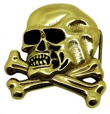Skull Belt Buckle Crossed Bones Skeleton Solid Brass Authentic Baron Buckles