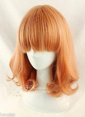 HOT ! New Fashion Medium Orange Mix Curly Cosplay BOB Wavy Wig