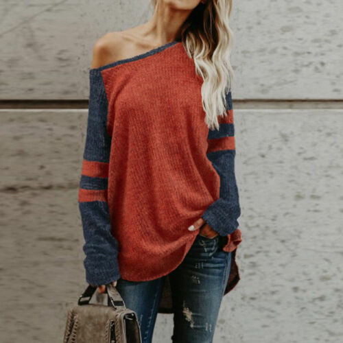Women One Shoulder Loose Baggy Knitted Sweater Long Sleeve Jumper Pullover Tops