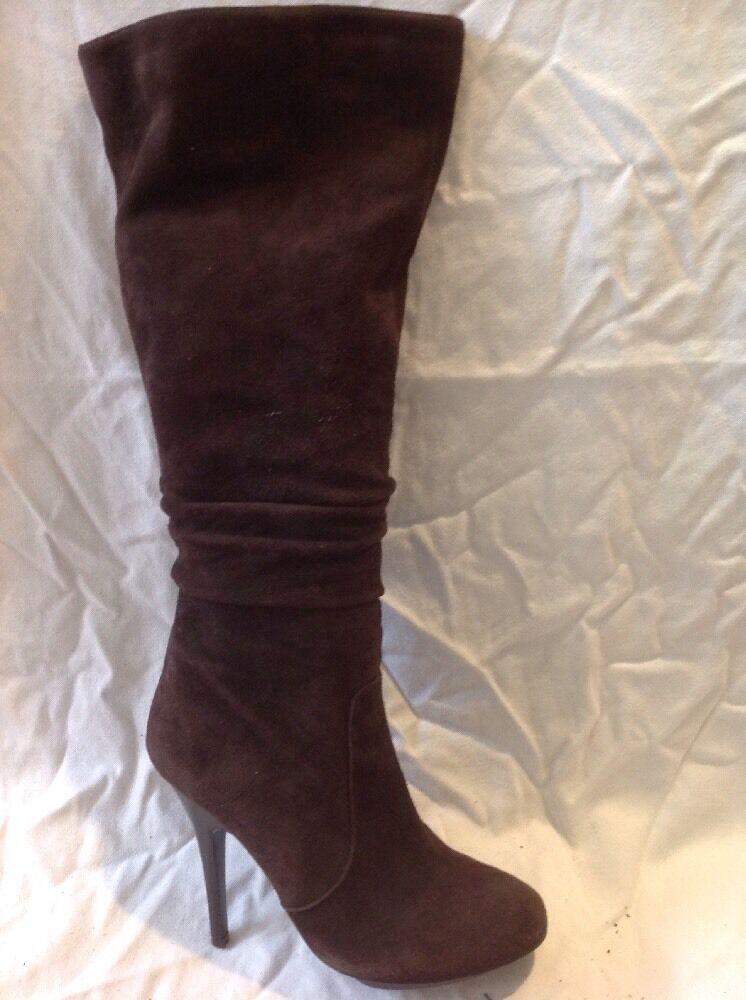 Unze London Brown Knee High Suede Boots Size 5