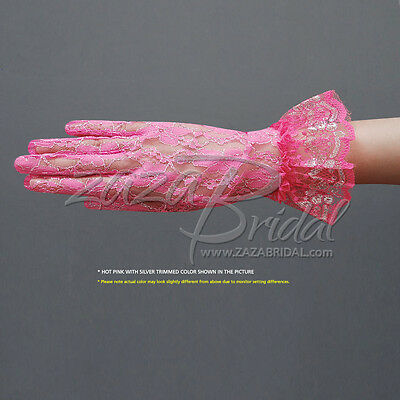 Ladies Lace Gloves Elegant Short Gloves Bridal Flower Pattern Lace Gloves with Ruffle Wrist Length Muhan