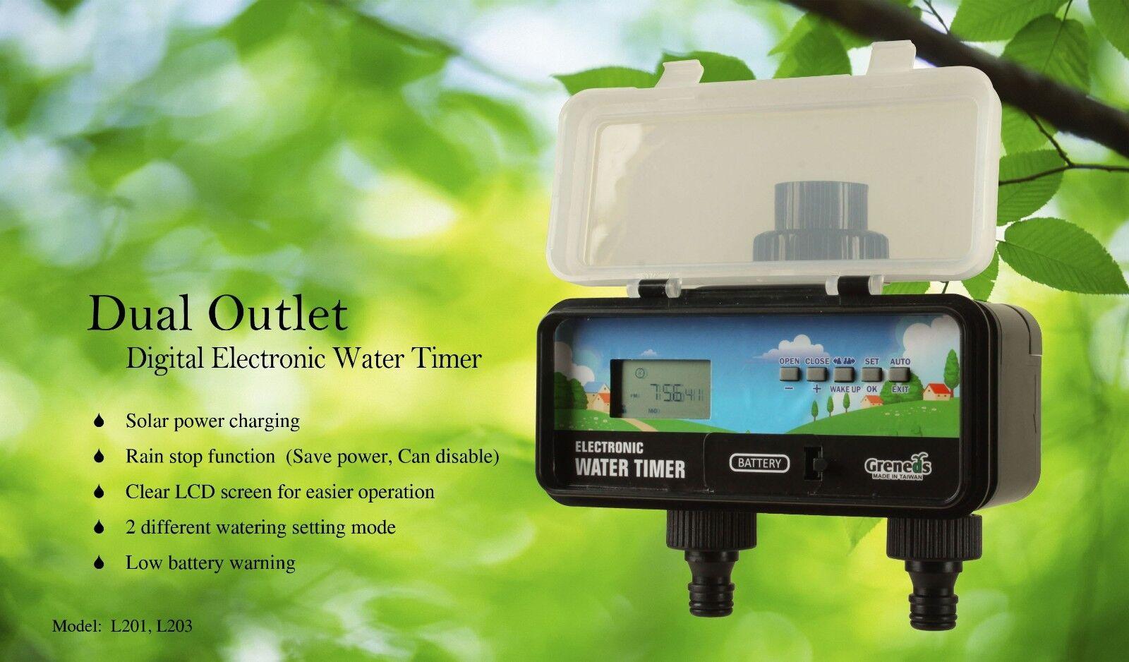 DVL201 Greneds 2 ZONE LCD Water Timer(3~145 Psi,Solenoid , Solar&RainStop)