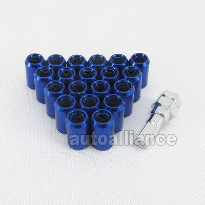 20x M12X1.5 Blue STEEL WHEEL LUG NUTS OPEN END W LOCKING KEY  FOR HONDA TOYOTA