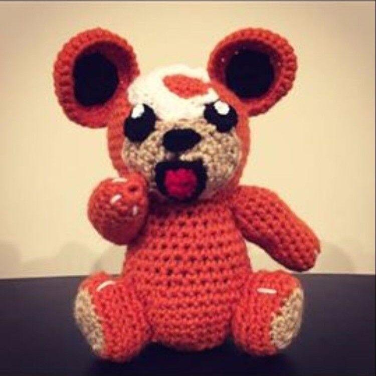Handgjort Crochet Pokemon Plush leksak - Teddiursa