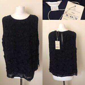 BNWT Monsoon Size UK 16 Navy Blue Floral Summer Party Occasion Top RRP £59