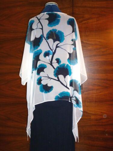 Blue On xl tunic New Floaty Lijin's Georette Silk Kaftan L White Flowers 100 PxqFY8Sw8