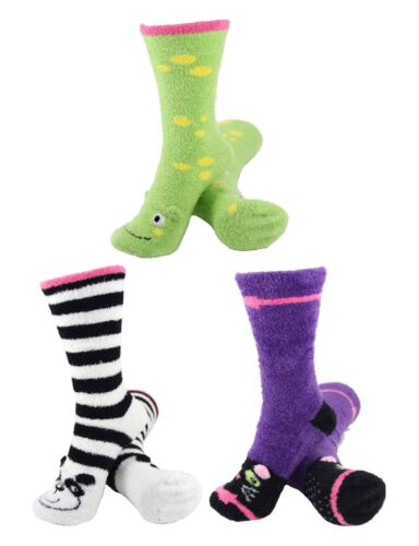 3 Pair Women/'s Fuzzy Cozy Warm Cute Animal Home Bed Cabin Socks Asst 24