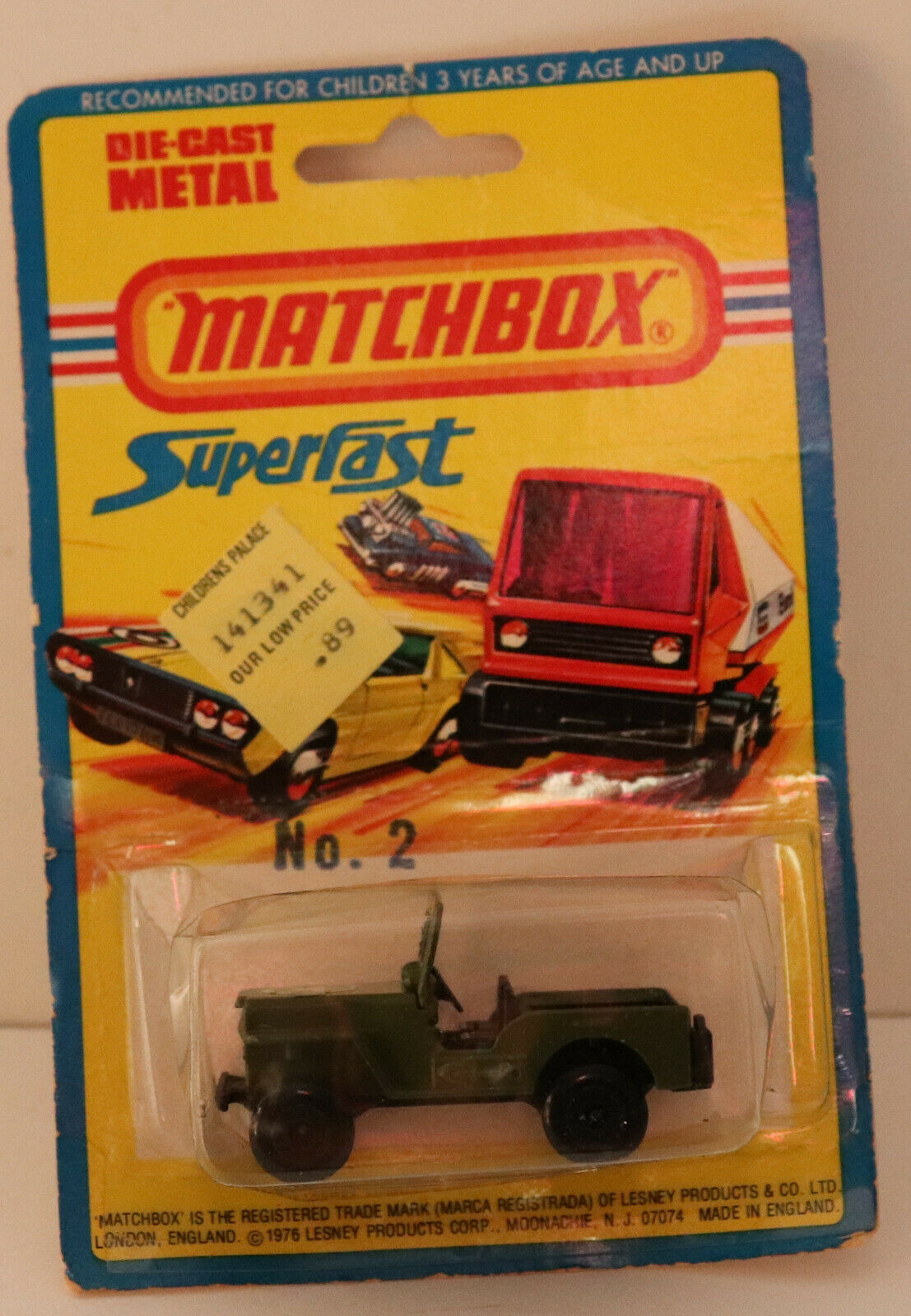 Lesney Matchbox súperfast DTE 1976 tarjeta 38-C Jeep Militar (2 en la tarjeta) niop