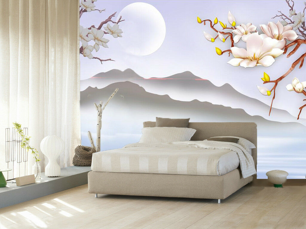 3D Flowers Moon Mountain 89 Wallpaper Mural Paper Wall Print Wallpaper Murals UK