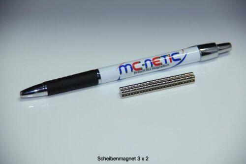100 Stück Neodym Scheibenmagnete Magnetscheiben 3x2 mm vernickelt sehr stark