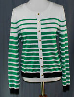 Debbie Morgan, Large Striped Crew Neck Cardigan, With Tags