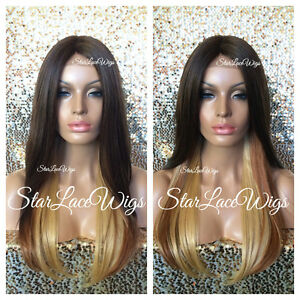 Lace Front Wig Ombre Brown Auburn Honey Blonde Long ...