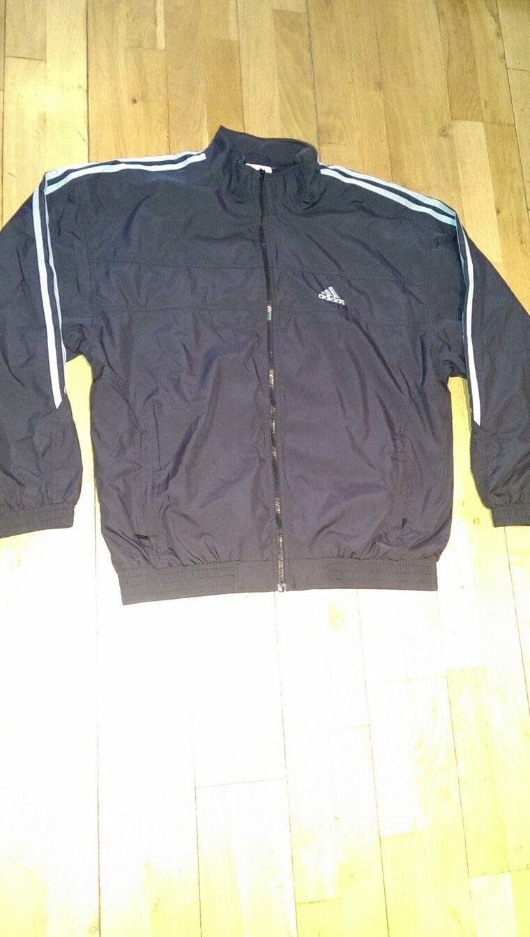 KANN NICHT KAUFEN Vintage Adidas Herren Trainingsanzug Schwarz Mit Grauen Streifen & Amp;Full Zip