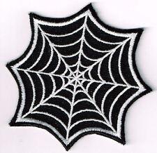 SPIDER WEB EMBROIDERED IRON ON PATCH biker vest cut rocker goth death metal rock