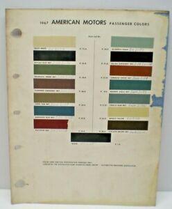 1967 AMERICAN MOTORS OF CANADA CAR COLOR PAINT CHIP CHART