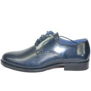 scarpe classiche cerimonia elegante uomo blu lucido abrasivato vera ... af88e7c297f